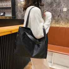 Casual Handbag Tote-Bag Large-Capacity Women Female Pu Soft Sac Daily Main Solid-Color