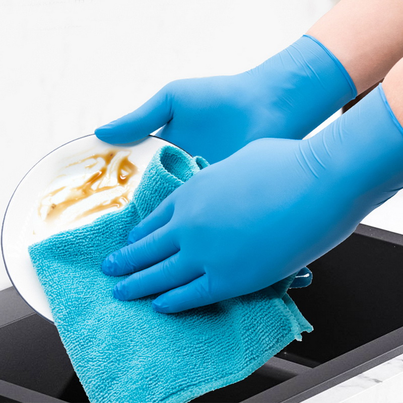 100PCS Blue Disposable Gloves Latex Dishwashing/Kitchen/Medical /Work/Rubber/Garden Gloves Universal For Left And Right Hand