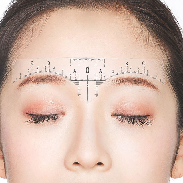 10PC Reusable Semi Permanent Eyebrow RulerMicroblading Calliper Stencil Makeup Eye Brow Measure Tool Eyebrow Guide Ruler 1