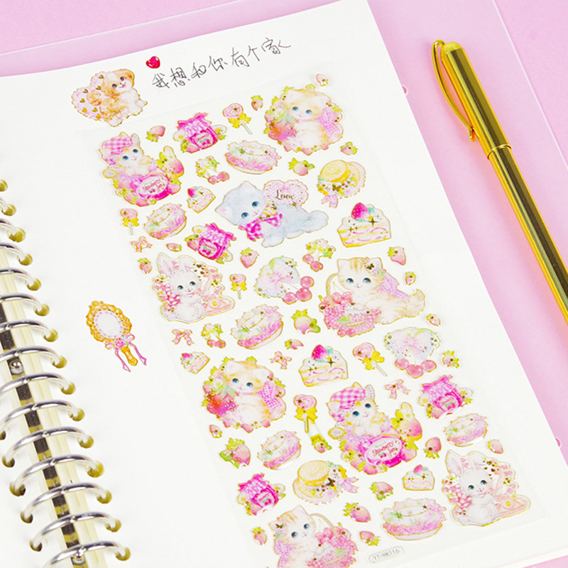 Cute Crystal Stickers Kawaii Cat Stickers Acrylic Decoration Stickers For Kids DIY Diary Scrapbooking Stationery