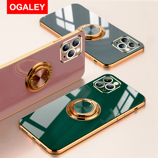 Original Silicone Cover For iPhone 12 12 Pro Max 11 Pro Max Case For iPhone 12 mini luxury Plating Phone Case for iphone11 Cover 1