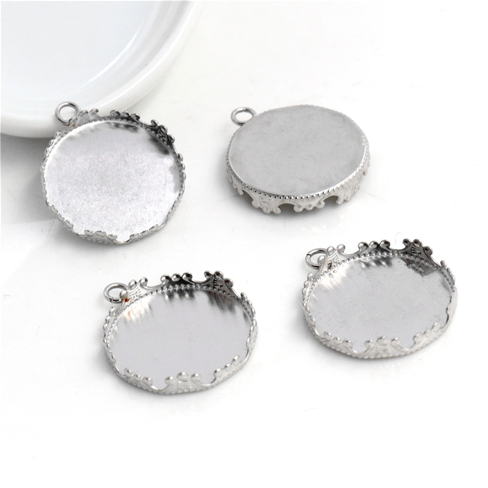 ( No Fade ) 10pcs 20mm Inner Size Stainless Steel Material Simple Style Cabochon Base Cameo Setting Charms Pendant Tray (T1-05)