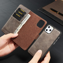 For iPhone 12 6s 7 8 Plus X XS MAX XR 11 Pro Max  Leather Book Stand Wallet Detachable Magnetic 2 in 1 Removable Card Cover Case
