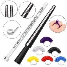Profissional medidor de medição dedo anel vara sizer mandril vara dedo calibre anel para diy moda jóias ferramentas medição conjunto