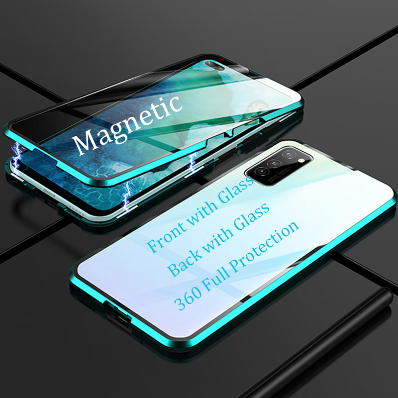For Samsung Galaxy A91 A71 A51 Magnetic Case 360 double-sided 9H Tempered Glass Case for Samsung S10 Lite M80S Metal Bumper Case