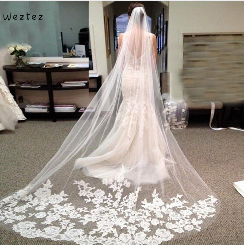 White Ivory Catherdal Wedding Veil 3M One Layer Lace Edge Long Bridal Veil Cheap Wedding Accessories TS311