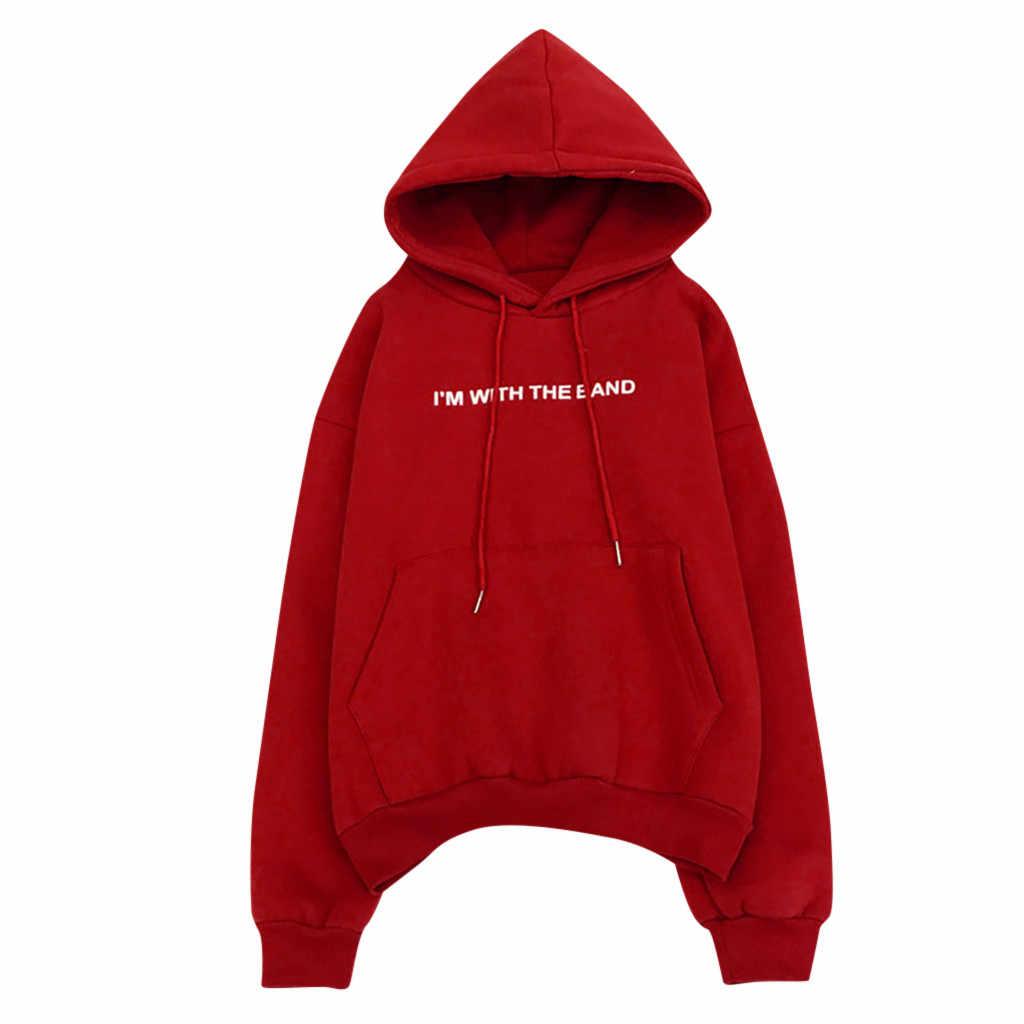 Women's Hoodie Sweatshirt 새 편지 인쇄 긴 소매 포켓 루스 점퍼 풀오버 가을 겨울 패션 캐주얼 웜 탑스 # A