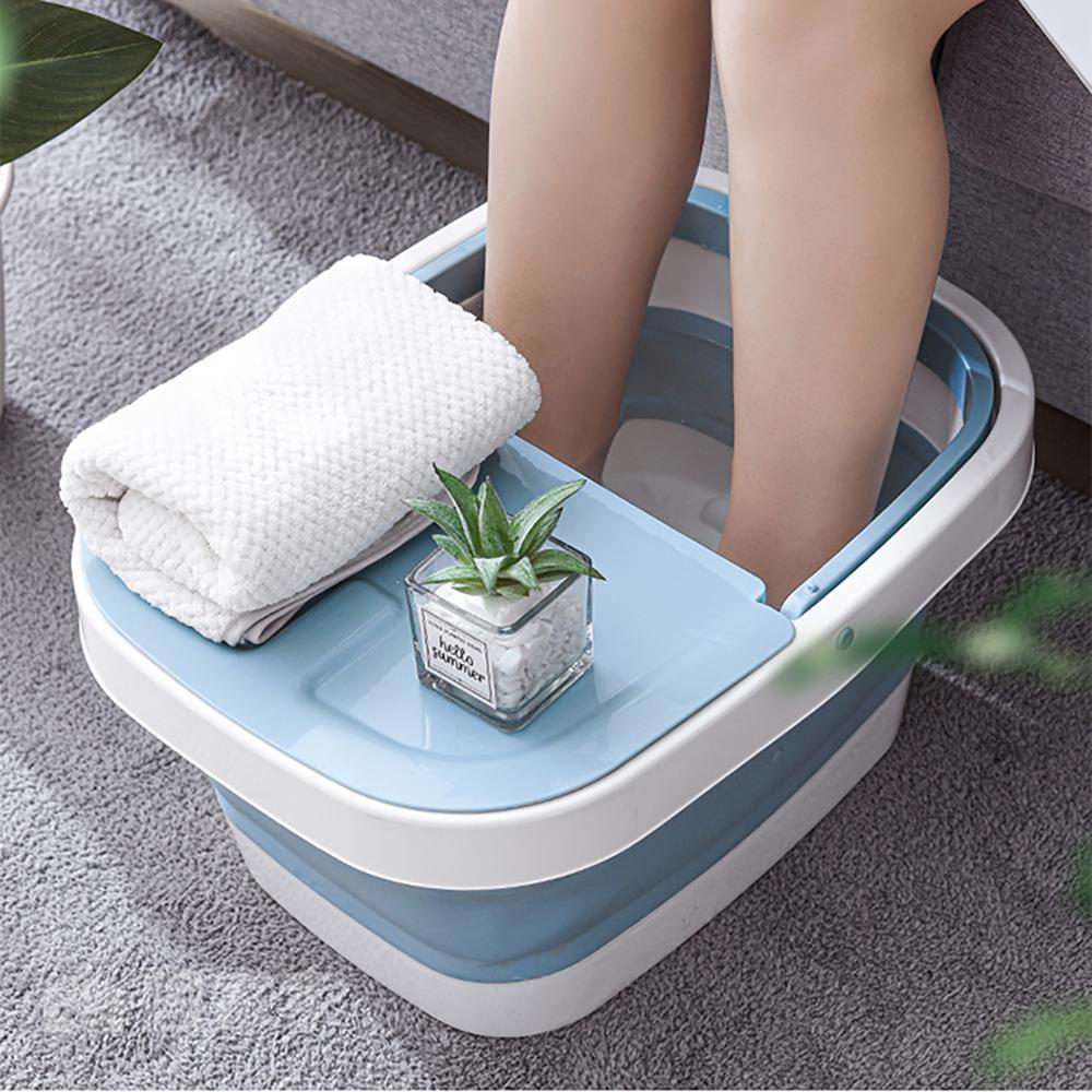 Plastic Foldable Bucket Foot Bath Bucket Bathroom Foot Wash Basin Laundry Buckets Portable Folding Water Container Large
