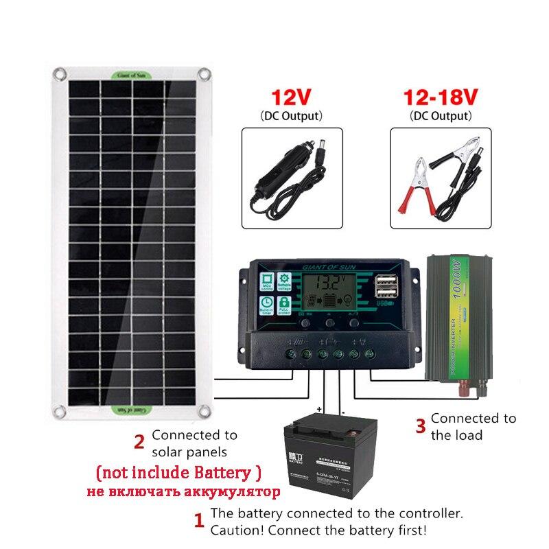 sistema de painel solar 18v 30w painel solar 2 porta usb 40a 60a controlador carga 1000w