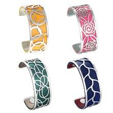Legenstar geometria wymienna bransoletka mankietowa Manchette Femme Rose Flower bransoletki ze stali nierdzewnej bransoletki dla kobiet biżuteria
