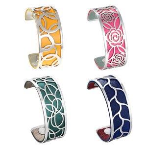 Image 1 - Legenstar geometria wymienna bransoletka mankietowa Manchette Femme Rose Flower bransoletki ze stali nierdzewnej bransoletki dla kobiet biżuteria
