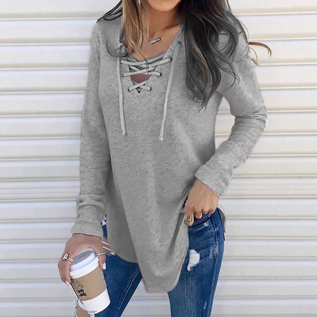 2020 Hot Women's Shirts For Spring Female V Neck Strap Long Sleeve Oversize Fashion Tops Female Elegant Top Autumn Blouse