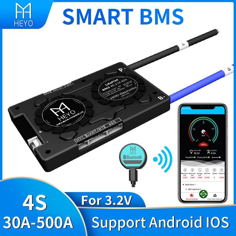 Smart bms Lifepo4 4s 100A 200a 30A 40A 60A pour batterie au lithium évaluée 3.2V 12V avec bluetooth UART usb à PC terminal Ntctc