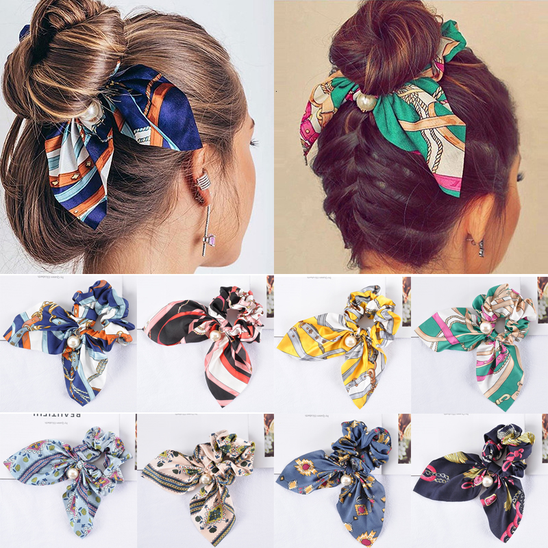 Chiffon Bowknot Silk Hair Scrunchies Women Pearls Elastic Hair Bands Ponytail Holder Scarf Rubber Hair Tie Rope Hair Accessories