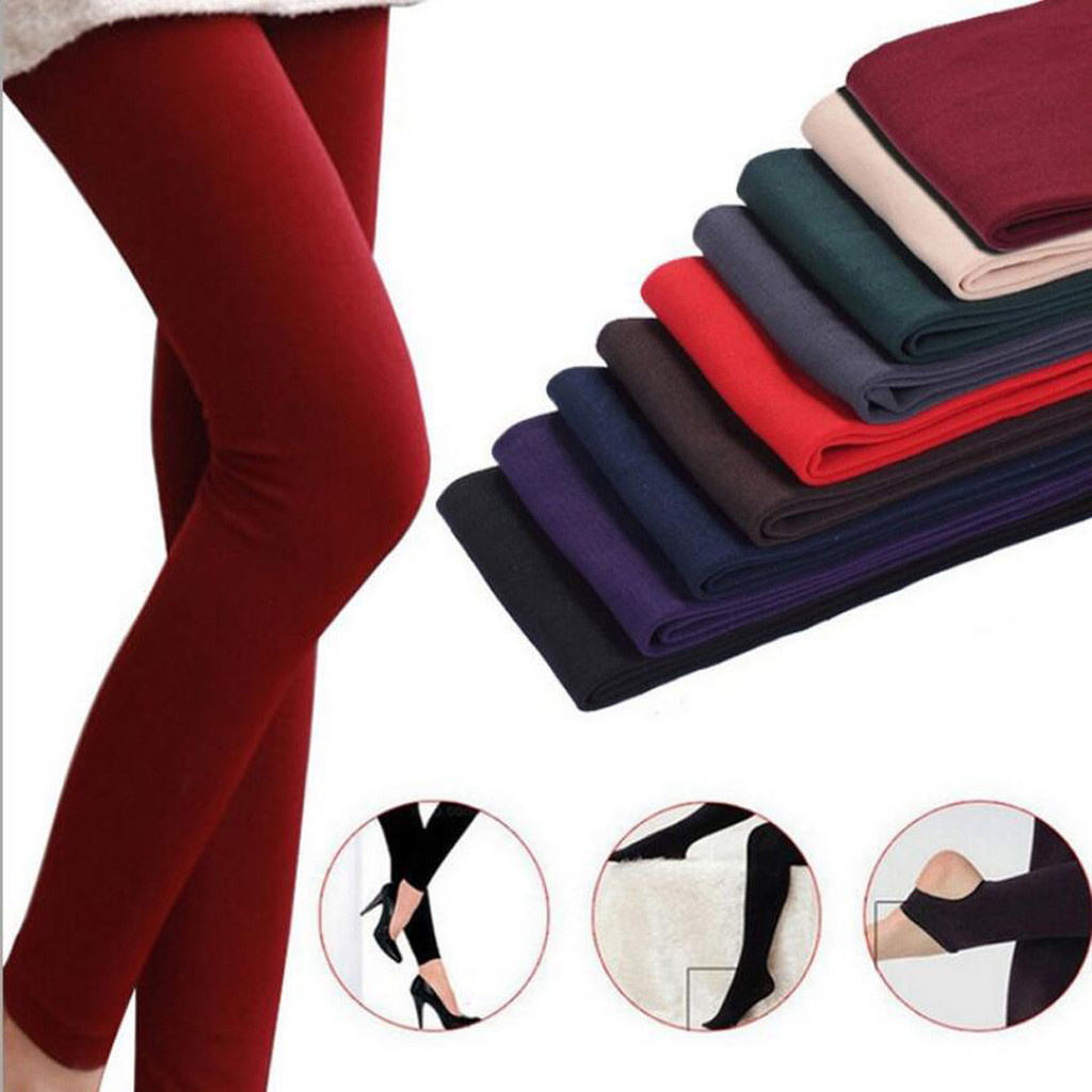 Women Solid Color Leggings Winter Keep Warm Plus Velvet Thicken Leggins Elastic Trousers Leggings Pants Women Clothes Ropa Mujer
