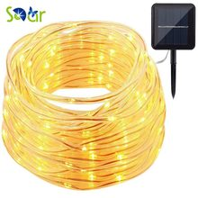 49.5ft 150 LED Solar Power Rope Lights Waterproof Portable String Lights Light Sensor Christmas Tree Wedding Party Garden Lawn(China)