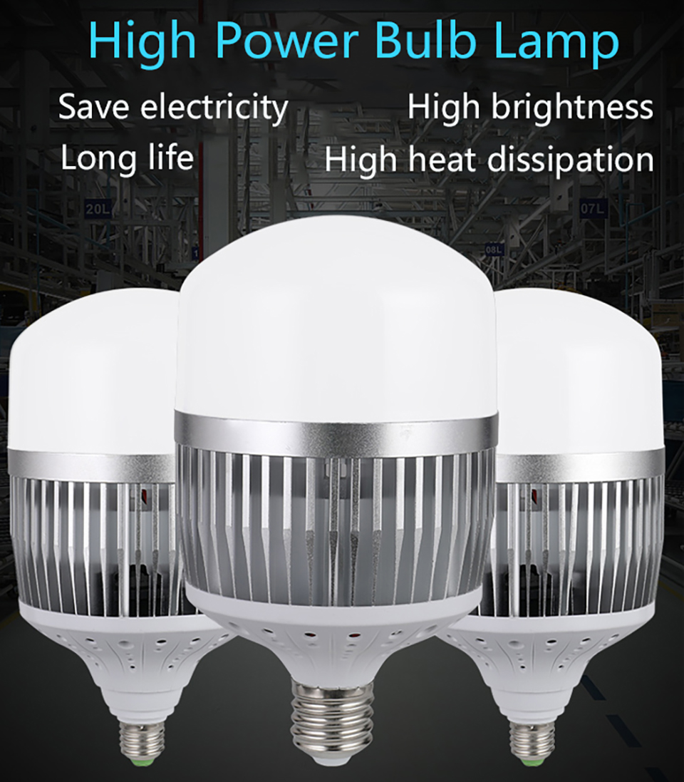 LED High Power Energy Saving Bulb E27e40 Screw Port 220V Super Bright 80w 100w 150w 200w Factory Lamp  Outdoor Lighting