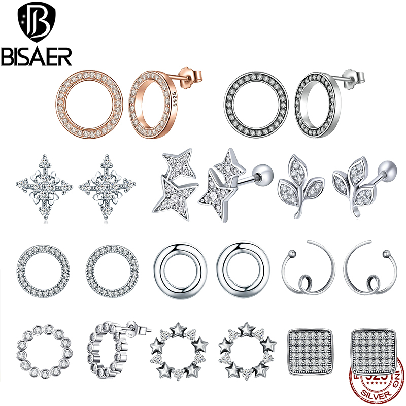 BISAER Valentine Day 925 Sterling Silver Earrings Clear CZ Forever Circle Round Stud Earrings For Women Silver Jewelry Brincos