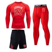 Мужское термобелье, комплект, спортивный костюм, компрессионный, пот, быстросохнущее нижнее белье, термобелье, Мужская одежда, кальсоны, комплект из 3 предметов