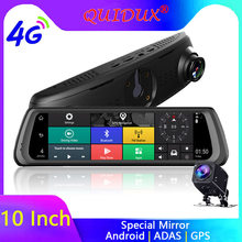 "QUIDUX 10"" IPS 4G Car Rearview Mirror Android DVR ADAS GPS Navigetor FHD 1080P Video Camera Recorder Bluetooth WIFI 16G Dashcam(China)"
