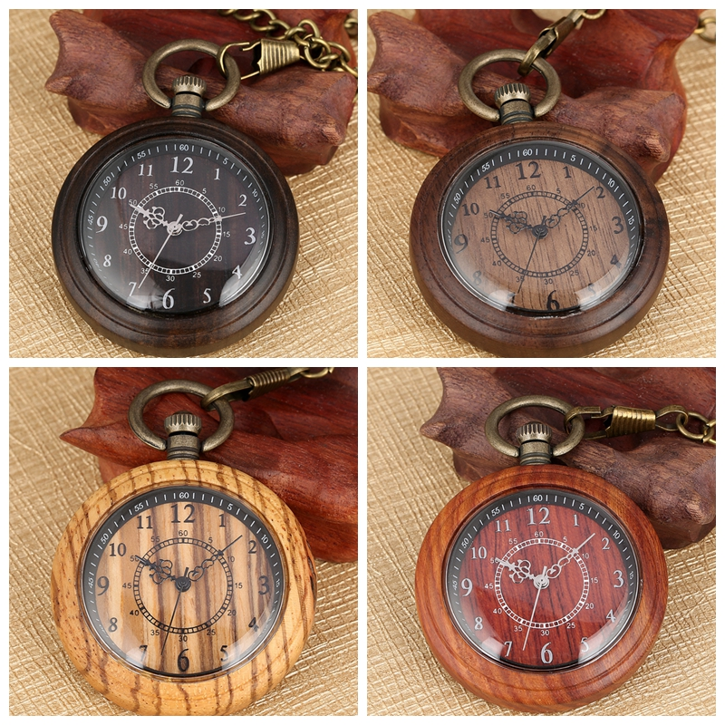 Lightweight Natural Wood Watch Men's Quartz Pocket Watch Open Face Chain Analog Wooden  Clock Gifts Reloj Montre A Gousset Chain