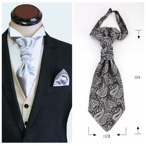 Image 5 - Mans Wedding Cravat Pre tied Ascot Tie for Men Satin Casual Paisley Stripe Ascots Necktie Formal Suit Vest Tie Hong Kong knot