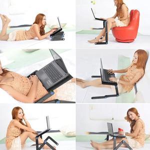Image 4 - Zwei Fan Laptop Schreibtische Tragbare Faltbare Einstellbare Klapptisch Laptop Schreibtisch Stehen mesa para notebook Tisch Entlüftet Stand Bett