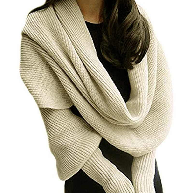 Women Knitted Sweater Tops   Scarf   with Sleeve   Wrap   Winter Warm Shawl   Scarves   KNG88