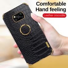 Luxury Crocodile Pattern Leather Stand Ring Phone Case For Xiaomi Poco X3 Pro Phone Cover For Poko Poxo M3 M3Pro M X 3 X3Pro F3