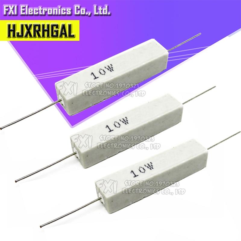 10 шт. 10 Вт цемента, резистивный токоудержатель на возраст 1, 2, 5, 8 10 15 20 25 100 Ом 1R 2R 5R 8R 10R 15R 20R 25R 100R 1 k, 2k 10k