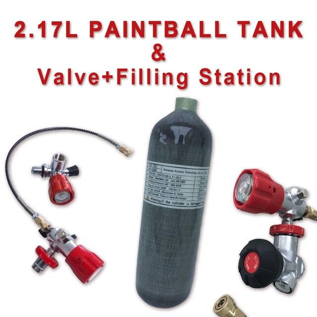 Acecare 2.17l ce 미니 스쿠버 다이빙 실린더 pcp 에어 탱크 pcp 밸브 4500psi 페인트 볼 탱크 pcp 라이플 공군 pcp 콘도르 밸브