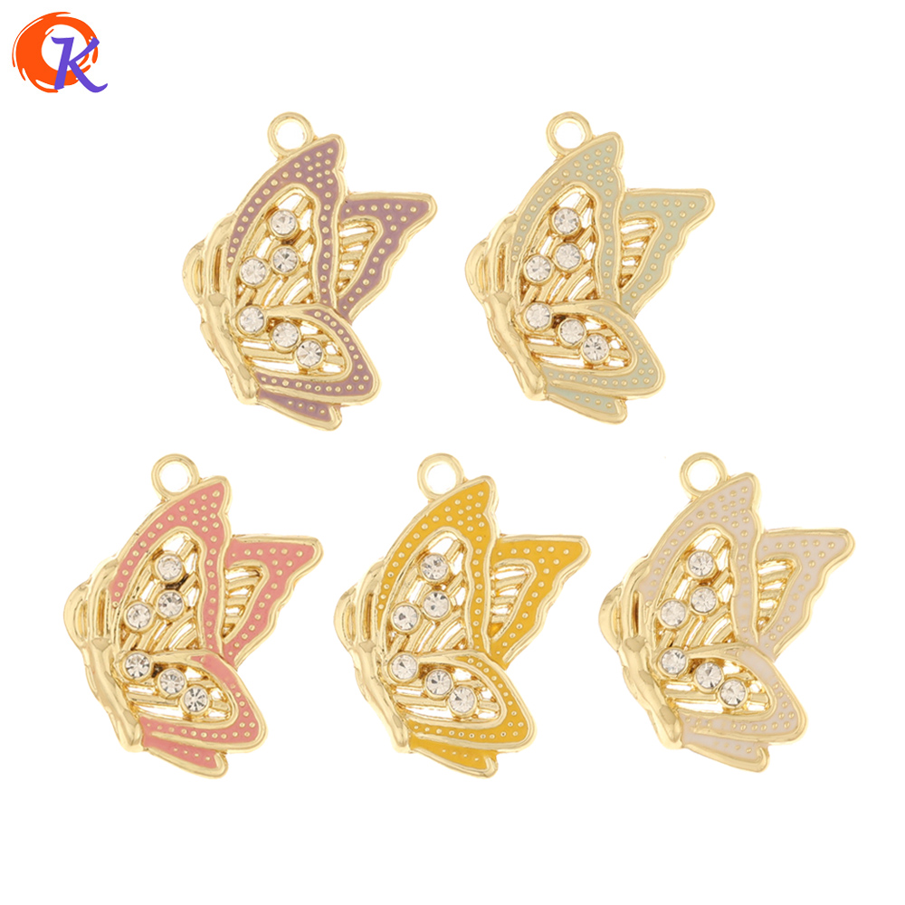 Cordial Design 50Pcs 17*25MM DIY Rhinestone Pendant/Paint Effect/Butterfly Shape/Hand Made/Earring Findings/Jewelry Accessories