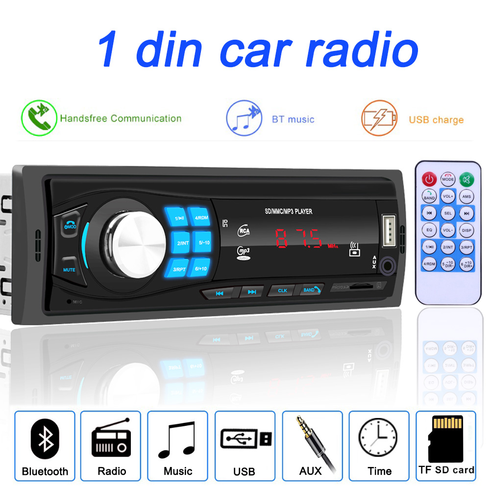 Multimedia-Player Autoradio Car-Stereo Bluetooth 1-Din Input-Receiver SD MP3 Aux-In 12V title=