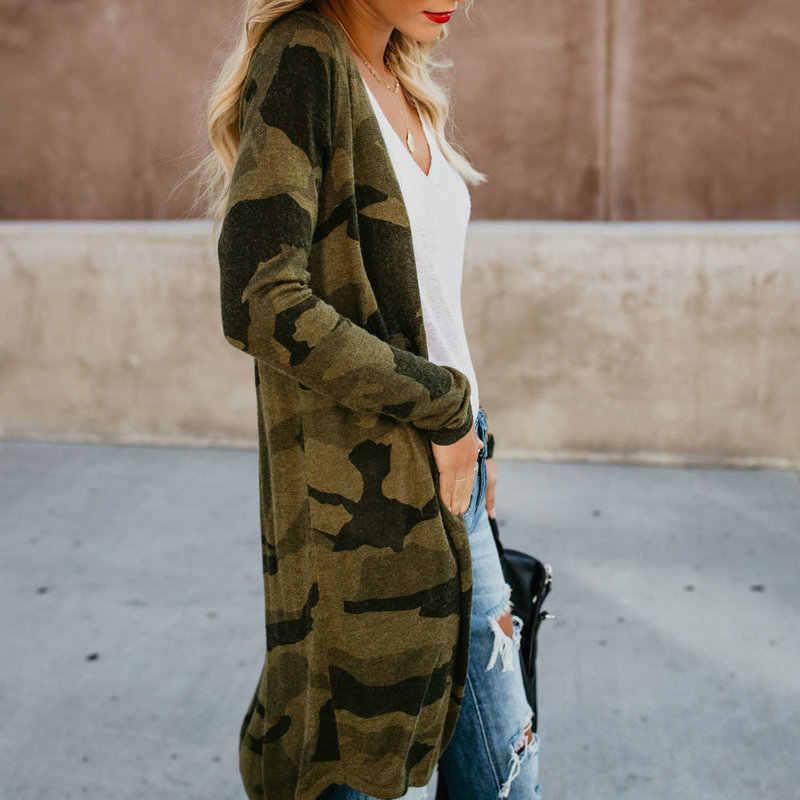 2019 الأزياء طويل ليوبارد التمويه طباعة طويلة كم المفتوحة غرزة معاطف وسترات معطف النساء