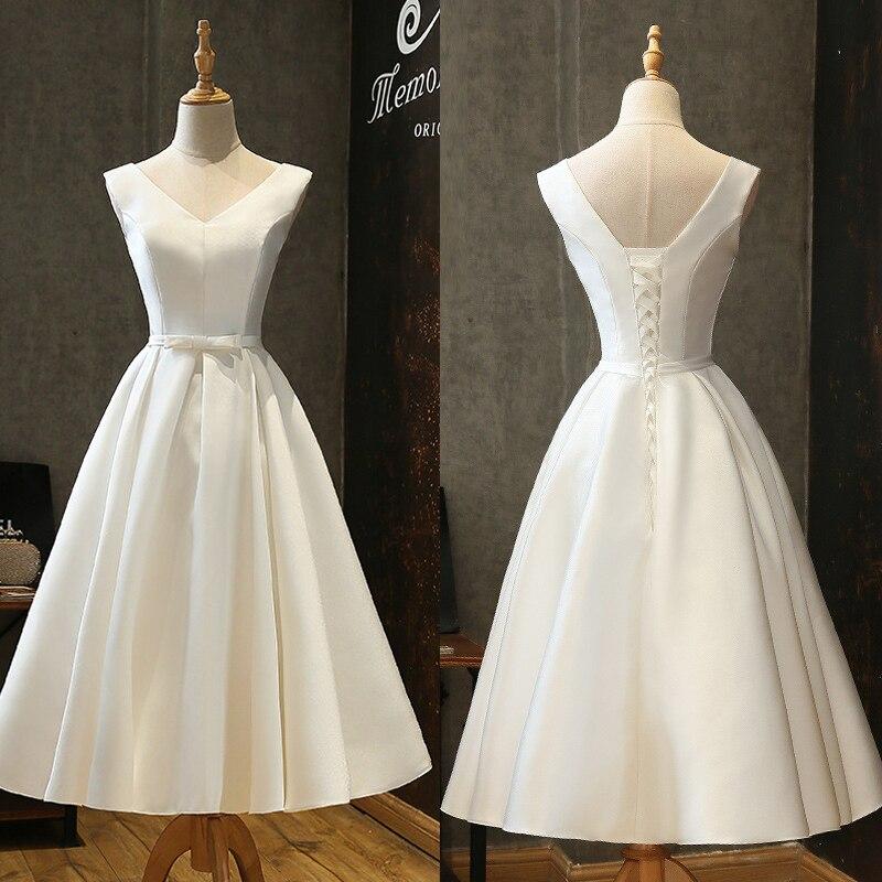 Elegant White/Ivory Satin Beach Bridal Dresses V Neck Bow Belt Tea Length Simple Beach Wedding Gowns