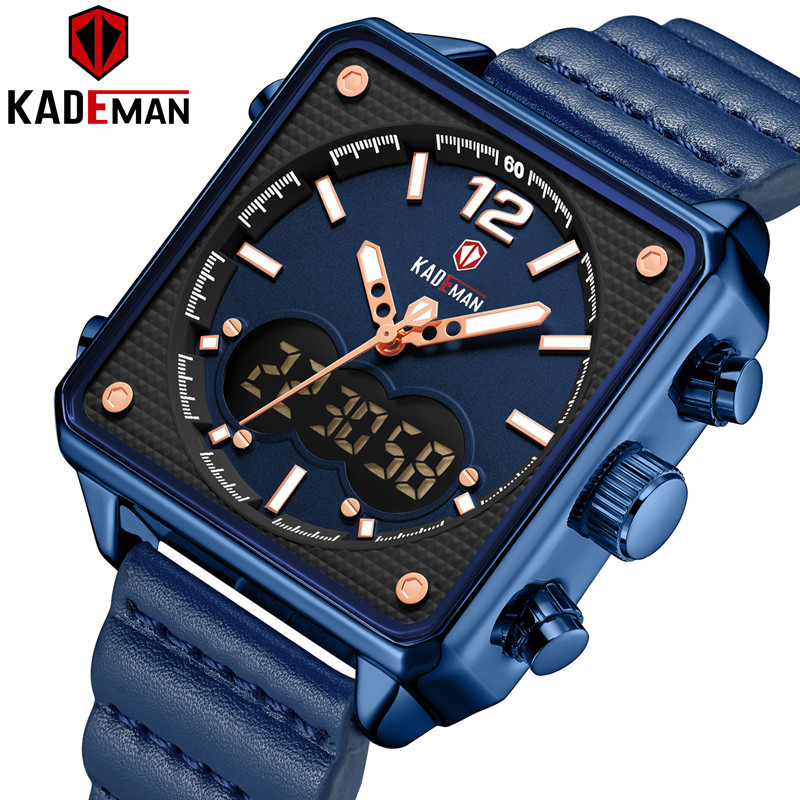 KADEMAN Luxury Square Watch Men Original Sport Watch TOP Brand Dual Display 3ATM Tech Wristwatches New Leather Casual Male Clock
