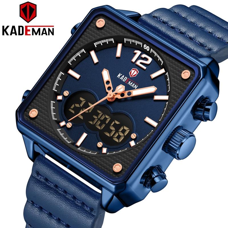 KADEMAN Luxury Square Watch Men Original Sport Watch TOP Brand Dual Display 3ATM Tech Wristwatches New Leather Casual Male Clock