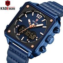 КЕЙДМАН роскошные квадратные часы мужские оригинальные спортивные топ бренд двойной дисплей наручные часы с 3atm техника новая кожа случайные мужской часы