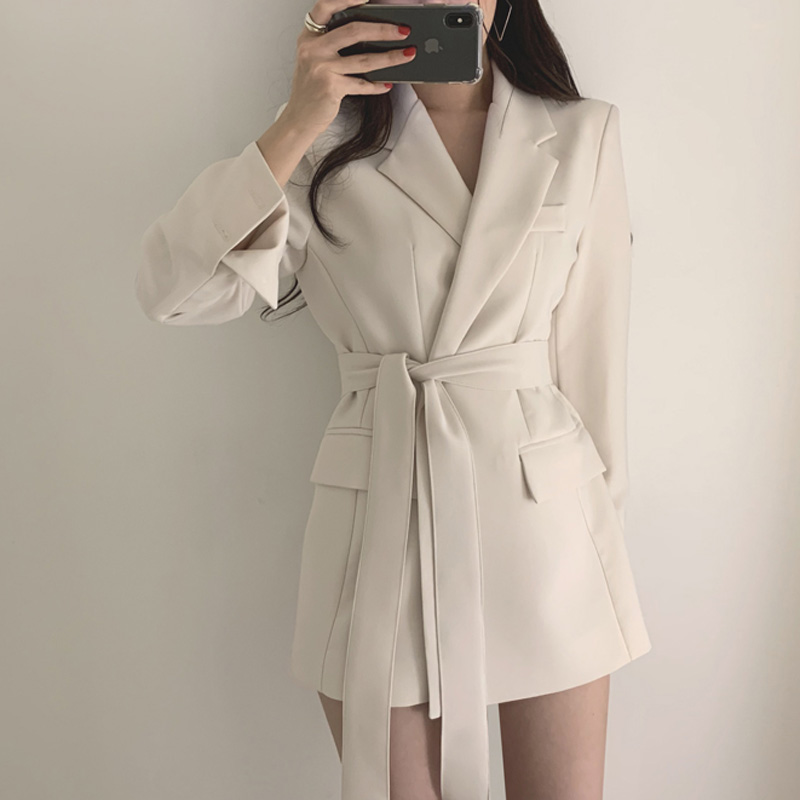 Drop Shipping Vintage Bandage Women Blazer Turndown Collar Sashes Women Jacket Elegant Slim Outerwear Full Sleeve Blazers Jacket