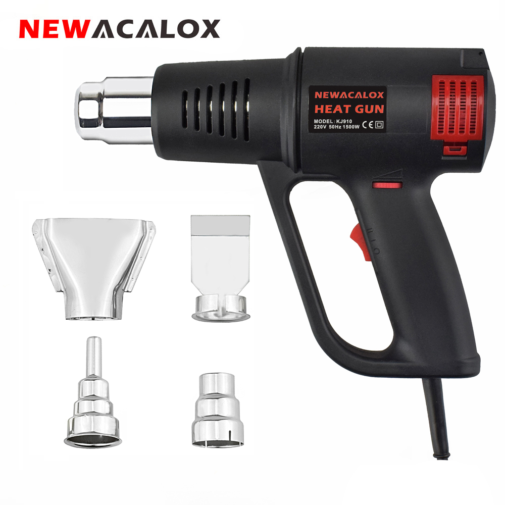 NEWACALOX EU/US 1500W Electric Hot Air Gun Thermoregulator 50-550 Celsius Heat Gun Plastic Torch Gun Power Tool With 4PC Nozzles