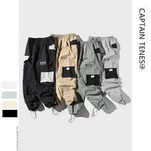 Mens Multi-pocket Overalls Loose Street Sports Pants for Men Multi color Cotton Flax Military