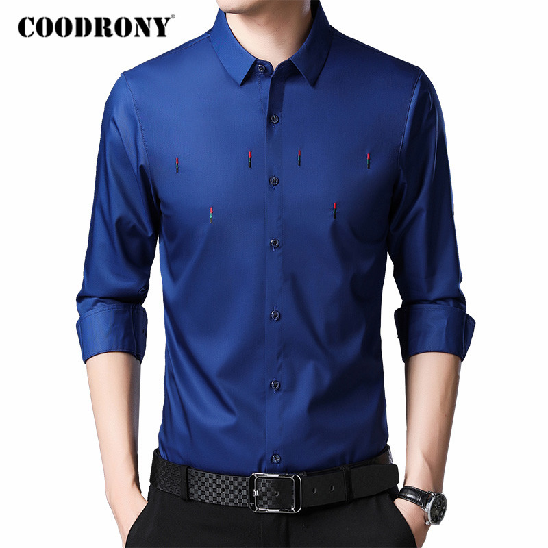 COODRONY Long Sleeve Shirt Men Spring Autumn New Arrival Business Casual Shirts Gentleman Fashion Embroidery Chemise Homme C6046