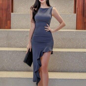 Cross-border womens 2020 new irregular cultivate morality show thin sleeveless dress irregular package hip skirt girl