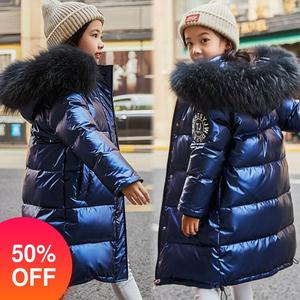Image 1 - Russia Snowsuit 2020 childrens Winter Down Jacket for Girls Clothes waterproof Outdoor hooded coat Kids parka real fur clothing
