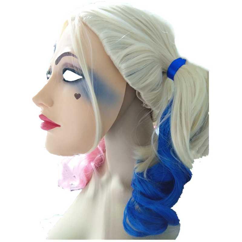Novo Anime Batman Coringa do Esquadrão Suicida Harleen Quinzel Cosplay Harley Quinn Traje máscara Do Partido do Dia Das Bruxas Perucas + Peruca de Cabelo Das Mulheres cap