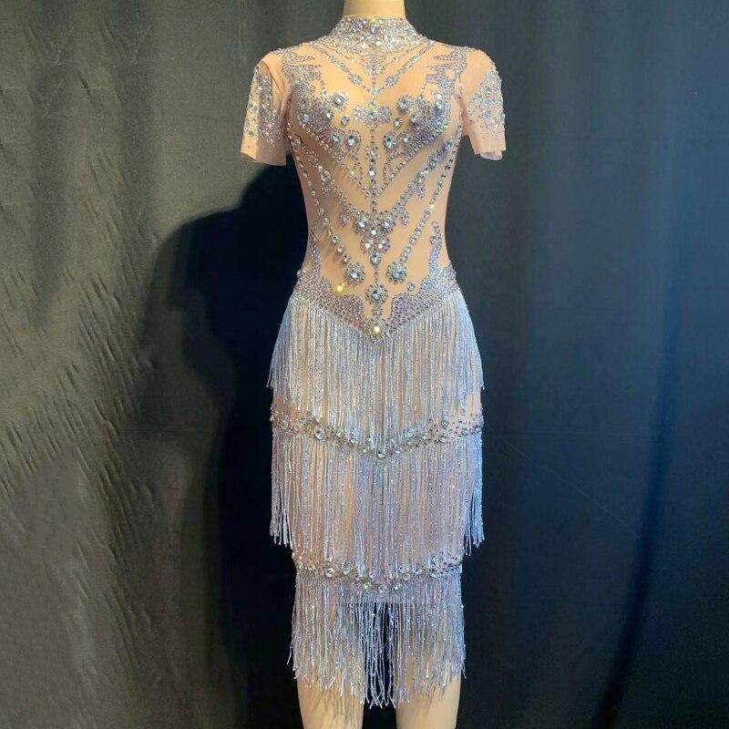 Shining Rhinestones Fringes Dress Lady Prom Evening Outfit Singer Dancer See Through Mesh Dress Birthday Tassel Net Dress DT1725