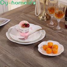Embossed cherry blossom flower shaped ceramic plate kitchen