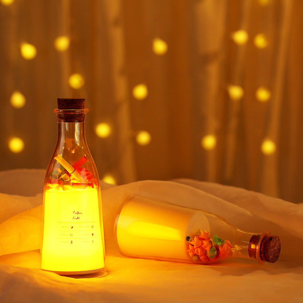USB Touch Dmming Rechargeable Childrens Message Drift Bottle  Night Light Bedroom Cute Kids Night Stand Romantic LED Gifts Lamp