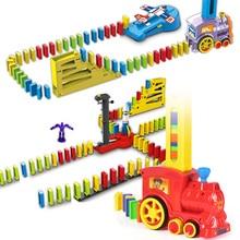 Автоматический блок домино Поезд Автомобиль звуковой светильник самолет ракета робот красочные домино игровой набор подарок на день рождения для детей