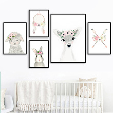 Cartoon Flower Bow Arrow Deer Sheep Rabbit Nordic Posters And Prints Wall Art Canvas Painting Pictures For Kids Room Decor